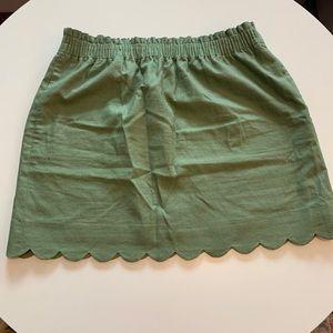 J. Crew Scalloped Linen Elastic Sidewalk Skirt